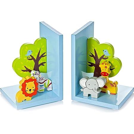 3D Safari Themed Wooden Children's Animal Bookends for Boys or Girls Nursery or Bedroom