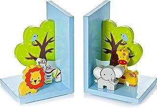 Mousehouse Gifts Serre Livres Enfants Animal Jungle Safari 3D en Bois pour Une Chambre de bébé garçon ou Fille
