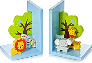 Mousehouse Gifts 3D Safari Themed Wooden Children's Animal Bookends for Boys or Girls Nursery or Bedroom