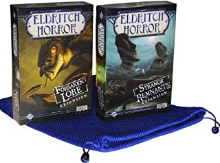 Strange Remnants and Forsaken Lore Expansions for Eldritch Horror Board Game _ Bonus Blue Nylon Mesh Drawstring Storage Bag_ Bundled Items
