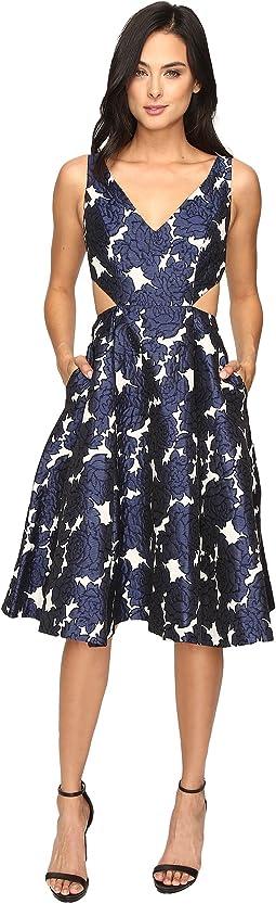 Jacquard Sleeveless Deep V-Neck Ball Skirt Dress
