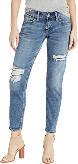Boyfriend Mid-Rise Slim Leg Jeans in Indigo