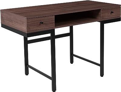 Flash Furniture Bartlett Dark Ash Wood Grain Finish Computer Desk with Drawers and Black Metal Legs