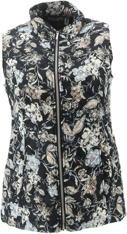 Susan Graver Weekend Printed Cotton Zip Front Vest Black Neutral 8 NEW A286741