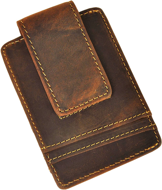 Le'aokuu Mens Genuine Leather Cowhide Magnet Money Clip Credit Case Case Holder Slim Wallet (W1058 Dark Borwn Rfid)