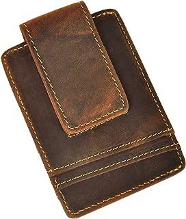 Le'aokuu Mens Genuine Leather Cowhide Magnet Money Clip Credit Case Case Holder Slim Wallet