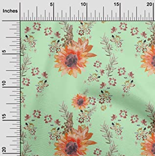 oneOone Polyester Lycra Mint Fabric Flower & Leaves Watercolor Sewing Craft Projects Fabric Prints by Yard 56 Inch Wide