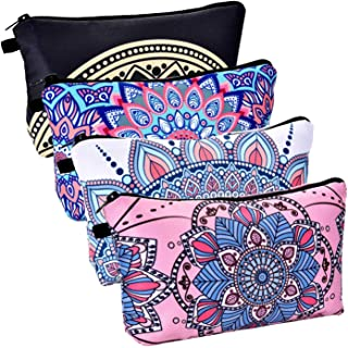 SODIAL 4 Pieces Makeup Bag Waterproof Toiletry Pouch Cosmetic Bag with Mandala Flowers Patterns,4 Styles