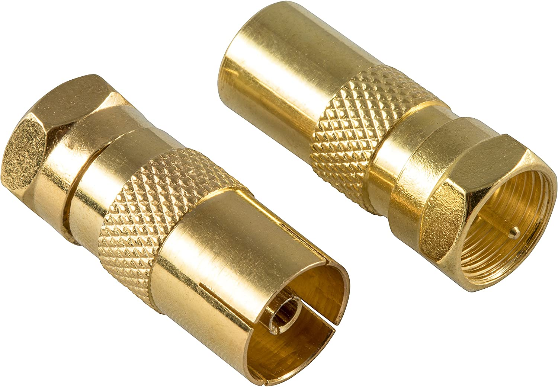 Poppstar 2X Adaptador coaxial para Cable de Antena (1x Conector F Macho a CEI Macho, 1x Conector F Macho a CEI Hembra), Acoplamiento coaxial, Dorado
