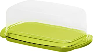 Rotho 1709705070 Butterdose, Kunststoff, Transparent/limettengrün, 18 x 9.5 x 7 cm Mantequillera, Verde Lima