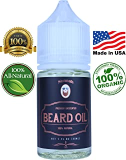 Unscented Beard Oil & Conditioner - Made in USA; Promotes Beard Growth Organic All Natural Argan & Jojoba Oils Softens, Nourishes & Strengthens Beards and Mustaches for Men Best Gift