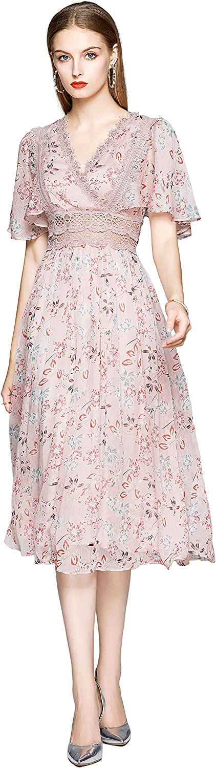 Women's Summer V-Neck Sundress Now on sale Ranking TOP3 Puff Print Sleeves Ruffle Floral