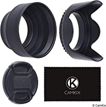 49mm Set of 2 Camera Lens Hoods and 1 Lens Cap - Rubber (Collapsible) + Tulip Flower - Sun Shade/Shield - Reduces Lens Flare and Glare - Blocks Excess Sunlight for Enhanced Photography and Video Foo