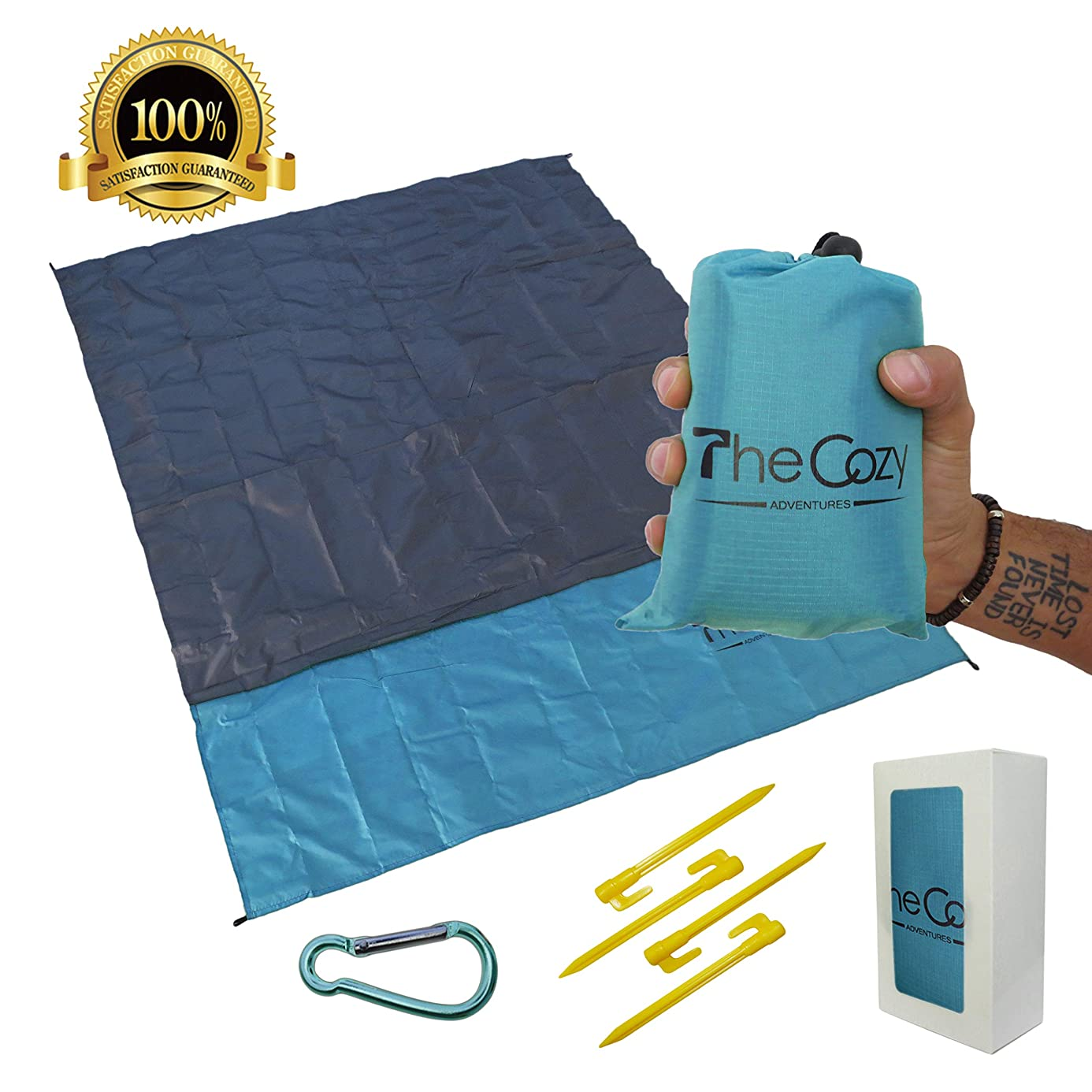 Sand Free Compact Beach Blanket - Pocket Picnic Sheet For Outdoor Multiple Use   Best Mat For Travel & Festivals, Soft & Quick Drying With 4 Portable Tent Pegs and a Unique Gift Box