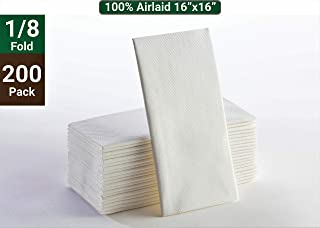 White Napkins - Linen Feel Lunch Napkins, Disposable Cloth Like Paper Hand Towels for Bathroom Soft, Absorbent Airlaid Tissue Paper for Wedding Reception Kitchen, Bathroom, Parties or Events 200 Pack