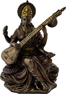 Top Collection Mini Saraswati Statue - Hindu Goddess of Knowledge, Music, Arts, and Wisdom Sculpture in Premium Cold Cast Bronze - 3-Inch Collectible Figurine (Sm. Saraswati)