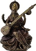 Top Collection Mini Saraswati Statue - Hindu Goddess of Knowledge, Music, Arts, and Wisdom Sculpture in Premium Cold Cast Bronze - 3-Inch Collectible Figurine (Sm. Saraswati)