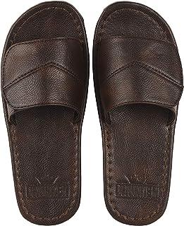 DRUNKEN Men's Adjustable Velcro Synthetic Leather Slides Slippers