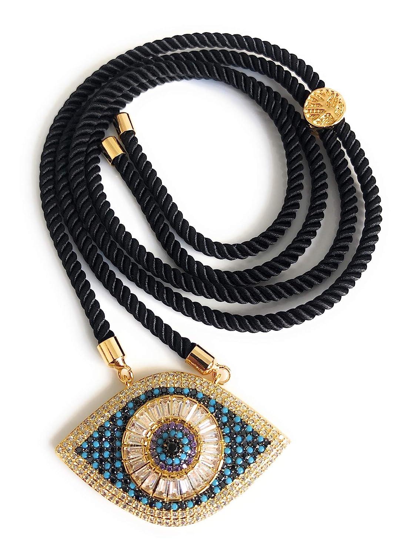 Ranking TOP8 Evil Eye Pendant Necklace Sliding Versatile Black Sale price Cor Adjustable