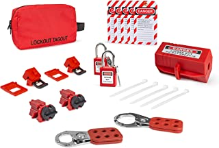 Electrical Lockout TAGOUT KIT w/Hasps, Clamp On Breaker Lockouts, Universal Multipole Breaker Lockouts, Loto Tags, Plug Lockout, Lockout Tagout Safety Padlocks | OSHA Compliance for Lock Out tag Out
