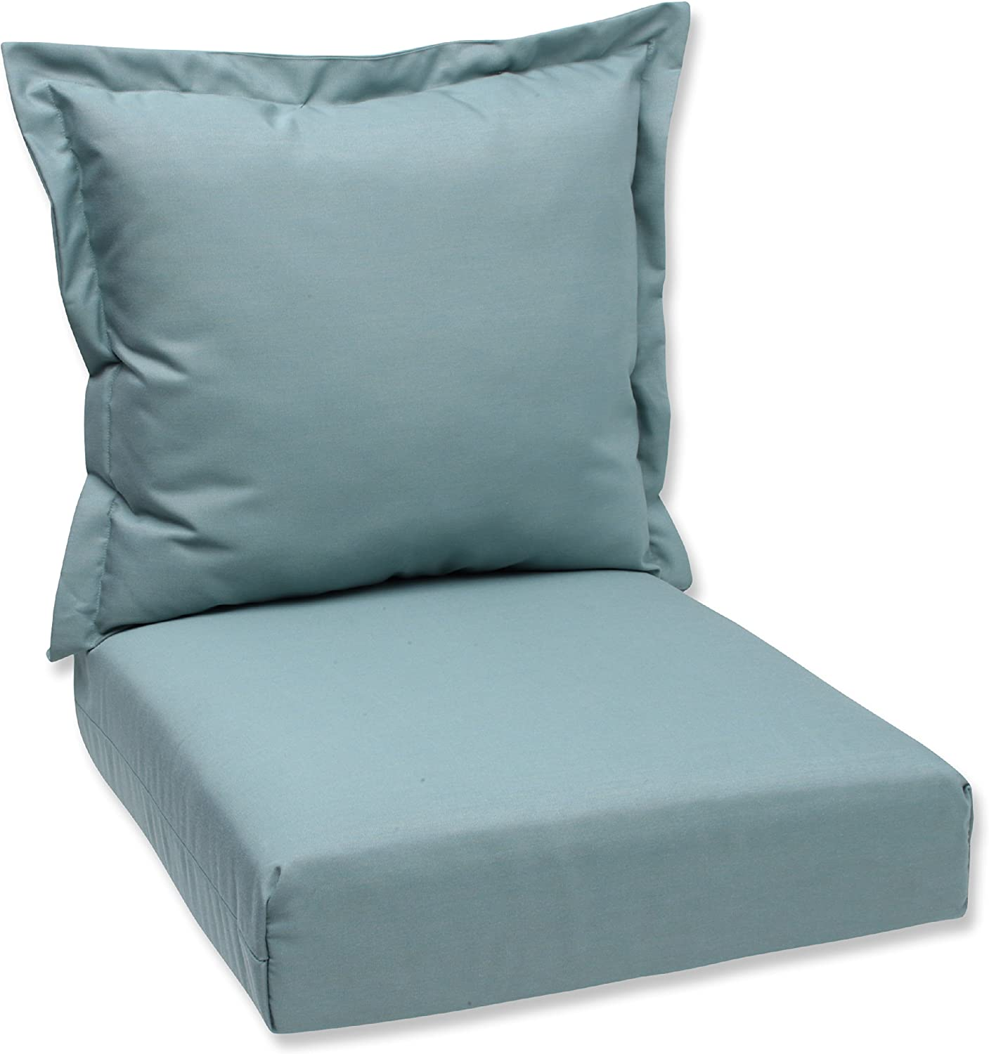 Indoor  Outdoor Tufted Wicker Chair Seat Cushion Sunbrella Canvas Pacific Blue Wicker Chair Cushion Choose Size
