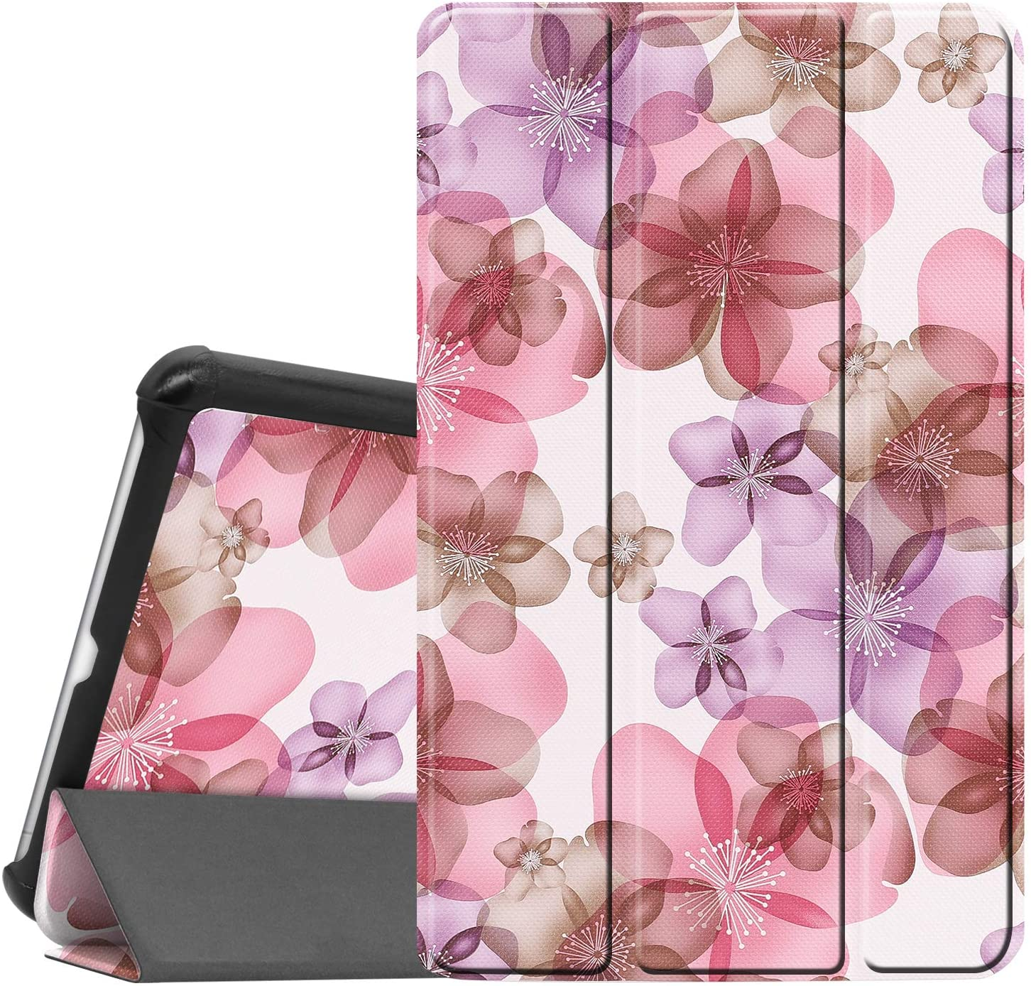 Gylint LG G Pad 5 10.1 Case, Smart Case Trifold Stand Slim Lightweight Case Cover for LG G Pad 5 10.1 Inches Tablet 2019 Release, Model:LM-T600L, T600L Pink Flower