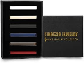 Finrezio 6PCS Mens Tie Clips Set for Men Tie Bar Clips for Regular Ties Necktie Wedding Business Clips with Gift Box, 2.17 Inches