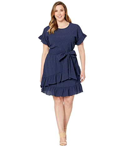 MICHAEL Michael Kors Plus Size Pucker Knit Ruffle Wrap Dress (True Navy) Women