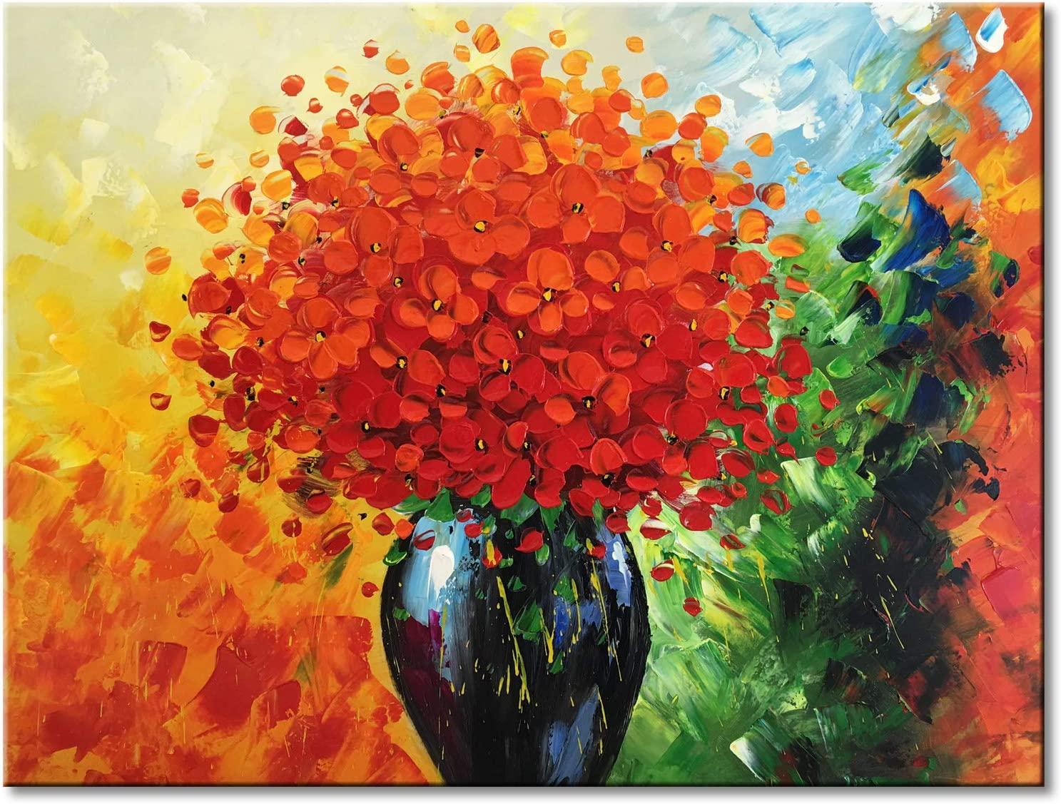 Max 86% OFF High order Handmade Modern Textured Red Flower Oil Abstract Painting Floral