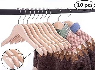 Cocomaya Pack de 10 niños de Madera para bebés, niños pequeños, Abrigos para Perchas, Ropa, Camisas de Vestir, Perchas con Gancho Giratorio 360 (32 cm de Color Natural inacabado, 10)