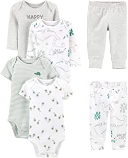 Baby 6-Piece Neutral Bodysuits (Short and Long Sleeve)...