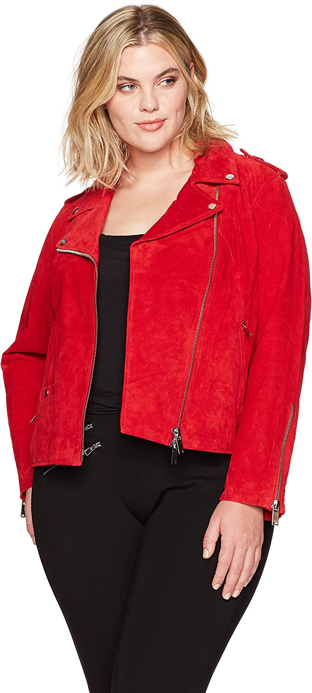 Rebel Wilson X Angels Womens Suede Moto Jacket Leather Jacket