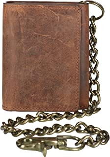 CTM Men's Crazy Horse Leather RFID Trifold Chain Wallet
