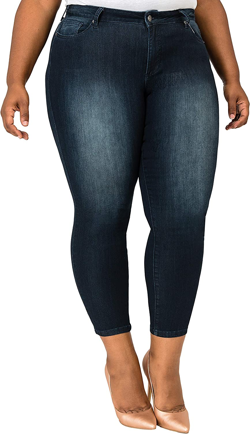Poetic Justice Plus Size Women's Curvy Fit Indigo Rinsed Cropped Skinny Jeans