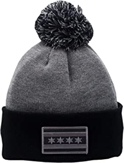 Peerless Embroidery Chicago Flag Cuffed Pom Knit Hat 2-Tone