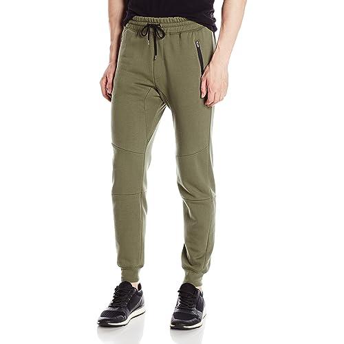 1a68411baa4d6b Brooklyn Athletics Men's Fleece Jogger Pants Active Zipper Pocket Sweatpants