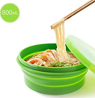 Anjiliya ME.FAM 800ML Silicone Collapsible Bowl with Lid for Outdoor Camping, Travel, Hiking and Indoor Home Kitchen, Office, School Student, Food-Grade, Space-Saving, Portable