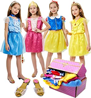 17 Pcs Girls Princess Dress Up Trunk Role Play Cosplay Set with Princess Shoes Crown Accessories Princess Costume for Kids...
