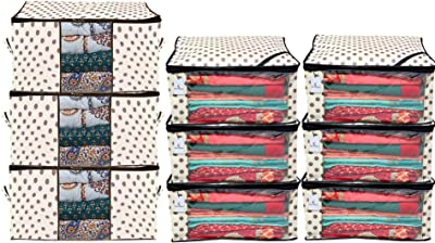 Kuber Industries Polka Dots Printed Non Woven 6 Pieces Saree Cover and 3 Pieces Underbed Storage Bag, Cloth Organizer for Storage, Blanket Cover Combo Set (Ivory) -CTKTC038651