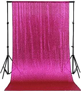 QueenDream 4ftx6.5ft Fuchsia Sequin Wedding Backdrop Sparkly Photography Backdrop for Wedding