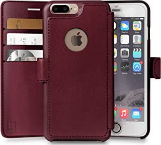 LUPA Wallet case for iPhone 7 Plus, Durable and Slim, Lightweight with Classic Design & Ultra-Strong Magnetic Closure, Faux Leather, Burgundy, Apple 7 Plus