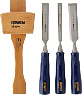 IRWIN Chisel Set for Woodworking with Mallet, 4-Piece (1788114)
