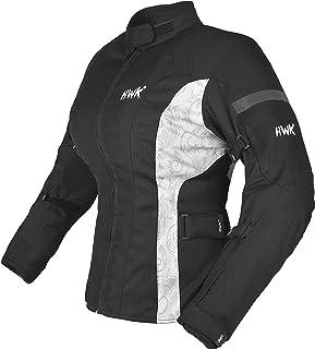 HWK Motorcycle Jacket For Women Rain Waterproof Moto Riding Motorbike Jackets CE Armored (Black/White, Large)