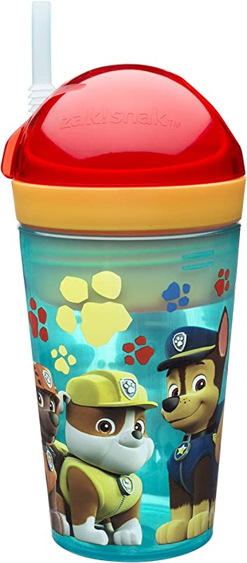 Zak Designs Paw Patrol ZakSnak All In One Drink Tumbler Snack Container For Toddlers Spill Proof 4oz Snack Container Screws Securely Onto 10oz Tumbler With Accessible Straw Paw Patrol Boy