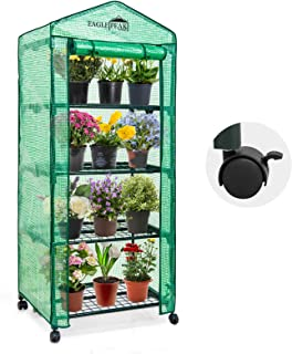 EAGLE PEAK 28'' x 19'' x 67'' Mini Greenhouse w/Casters, 4-Tier Portable Rack Shelves Gardening Plant Green House for Outd...