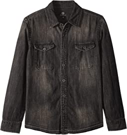 Black Denim Shirt with Release Hem (Big Kids)
