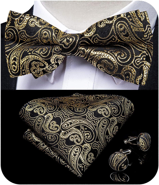 DiBanGu Designer Bowtie and Handkerchief Cufflink Set Paisley Plaid Pre-Tied Bow Ties Formal