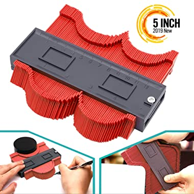 Contour Gauge Duplicator, 5 Inch Contour Tool Profile Guide for Woodworking Project Copy Layout Shape, Tracing Pipe Tile Frame Template, Measuring Tool for Perfect Fit and Easy Cutting (Red)