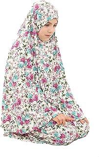 Girl Prayer Dress-Muslim Girls Prayer Long Dress Two Pieces Prayer Set (5 to 12) Years Old (3 Colors) (Green, Numeric_8)