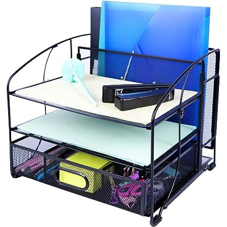 Exerz Mesh Desk Organiser Office Supplies 3 Trays/Desktop File Holder with Sliding Drawer and Hanging File Holder/Paper sorters/Vertical Upright Section for Office Home Multifunctional (Black New)
